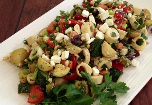 Toss together and Voila - Greek Inspired Leftover Salad