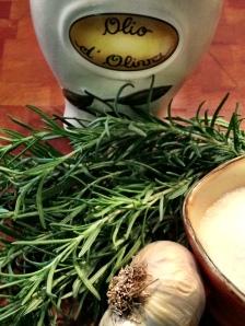 Olive Oil, Rosemary, Garlic, Salt
